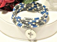 Wood Bead Wrap Bracelet with Cross Charm  Blue by RomanticThoughts