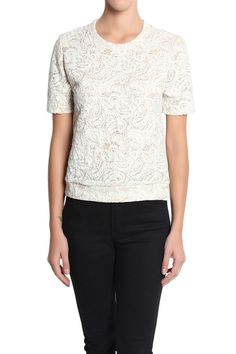 TheMogan Floral Lace Short Sleeve Banded Hem Top