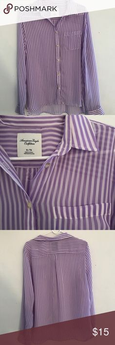 American Eagle - striped sheer button down AE sheer button down Longer length in the back Loose fit, fun to style  Pretty lavender purple stripes  Lightweight, perfect for spring and summer  Tiny mark, tried to show in closeup photo American Eagle Outfitters Tops Button Down Shirts