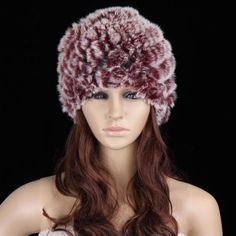 88609052438 New Real Rabbit Fur Hat Ladies Winter Warm Fur Hat Hand Knitted Cap Gift aa