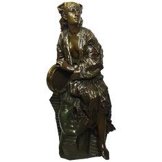 Gaston Leroux Bronze Figure of Aida on a Sphinx, French, 19th Century | From a unique collection of antique and modern sculptures at https://www.1stdibs.com/furniture/decorative-objects/sculptures/