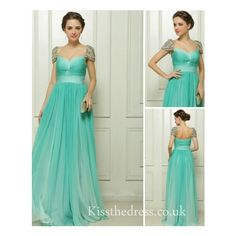 Green Chiffon Sweetheart Empire Long Prom Dress With Cap Sleeves EM090 found on Polyvore