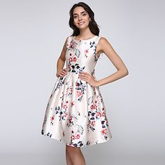 Party/Cocktail+Vintage+Swing+Dress,Floral+Round+Neck+Knee-length+Sleeveless+White+Nylon+Summer+Mid+Rise+–+USD+$+25.99