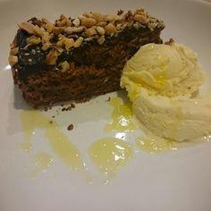 #chocolatecake #vanillaicecream #oliveoil #nuts #salt #dessert #omnomnom