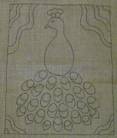 Primitive Hooked Rug Pattern Peacock on Rug Hooking Linen Burlap