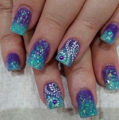 Fabulous Nails - 0406072465 Spring Nail Art, Winter Nail Art, Winter Nails, Spring Nails, Summer Nails, Chevron Nails, Blue Nails, Great Nails, Fabulous Nails
