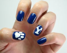 Day 5: Blue, Go BYU Cougars! #31DC2013 Byu Football, Football Season, Blue Nail Polish, Blue Nails, School Spirit Nails, Cookie Monster Nails, Basketball Nails, Football Nails, Diy Manicure