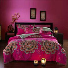 Bohemian style 100%Cotton Queen Bedding sets rosered bedclothes 4Pcs bed Flat linen/sheet duvet cover set pillowcase/cover