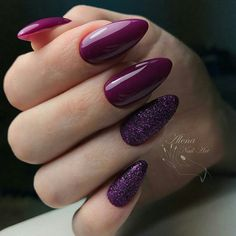 Trendy Manicure Ideas In Fall Nail Colors;Purple Nails; Purple Glitter Nails, Burgundy Nails, Red Nails, Hair And Nails, Matte Nails, Acrylic Nails, Burgundy Wine, Acrylic Art, Popular Nail Designs