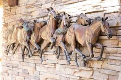 Running horses metal sculpture