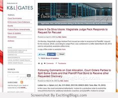 Electronic Discovery Law Firm : K Gates : Electronic Discovery Law - Click to visit blog:  http://1.33x.us/Ix6ivm
