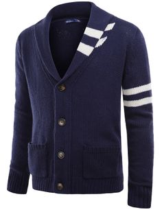 Doublju Mens Shawl Collar Sweater Cardigan (KMOCAL02) #doublju