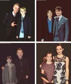 Before and After: Tom Felton, Dan Radcliffe, Rupert Grint, and Emma Watson. || I love how Dan is pretty much the same height! Haha such cuties : )