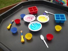 Shaving foam with added food colouring - Childminding Watford Playful Minds Childcare Activities, Nursery Activities, Sensory Activities, Classroom Activities, Preschool Activities, Tuff Spot, Play Based Learning, Learning Through Play, Baby Sensory