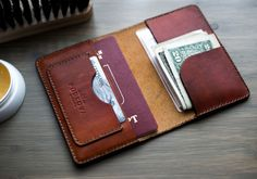 Leather passport cover/ Passport holder/ Brown leather cover/Leather passport holder pocket card