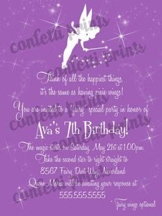 Printable Birthday Invitation  TINKERBELL by ConfettiPrintsShop, $12.00