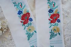 1y Vintage Floral French 3 Red Yellow Blue by VintageCottageFinds