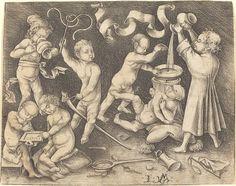 Israhel van Meckenem  Seven Children at Play, c. 1490  Rosenwald Collection  1943.3.153