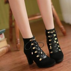 Black Suede Lace Up Chunky Heel Booties