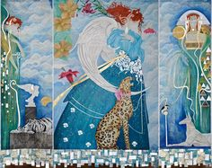 """Silver Age"" (Triptych) - 110.2""x134"" (280x340cm) Mixed media art. Wax painting cotton and linen with acrylic"