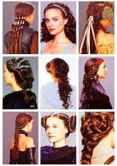Epic Hairstyles For Natalie Portman In Star Wars Episode 1 The Phantom Menace Natalie Portman, Wedding Hairstyles, Cool Hairstyles, Disfraz Star Wars, Film Star Wars, Star Wars Padme, Eye Makeup, Hair Makeup, Star Wars
