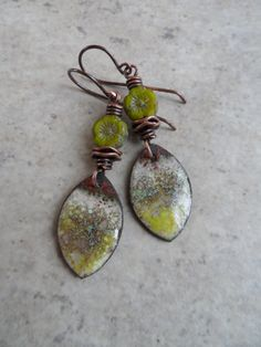 Fresh Mint ... Enameled Copper Charms, Czech Glass Flower and Copper Wire-Wrapped Rustic, Boho, Floral Earrings by Juliethelen on Etsy