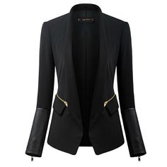 Sometimes to be a confident and beautiful woman is easy. It mainly depends on your dressup. Try this blazer. No matter working,party,dating,shopping or holiday,it is a perfect choice for you. Featuring solid color,PU leather spliced long sleeve with zipper design,3D tailor,perfect outline your slender curve.