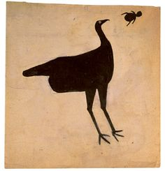 Bill Traylor (1854-1949). Turkey Chasing Bug. Poster Paint and Pencil on Cardboard. Circa 1939-1942.