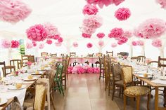 Large Pom Pom Wedding Tent Decor