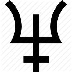 Symbole astrologique de la planète Neptune Hades, Planetary Symbols, Neptune, Letters, Art, Astrological Symbols, Earth Quake, Greek Mythology, Taurus