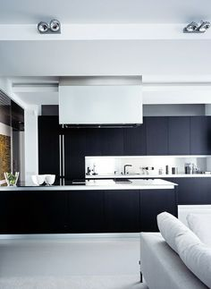 contemporary home interior design | Modern Black & White Kitchen
