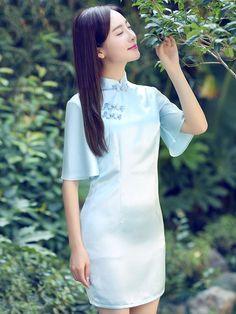 Heavenly Blue Flutter Sleeves Qipao / Cheongsam Evening Dress