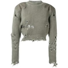Yeezy destroyed cropped jumper found on Polyvore featuring tops, sweaters, crop, green, white crop top, green sweater, adidas originals, cut-out crop tops and white top