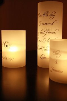 Centerpiece Luminaria Set Three Piece Set Wedding Signs Table Numbers Quotes Personalized and Romantic