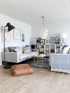 Scandinavian modern living room with Verner Panton lamp & Ikea 'Hektar' floor lamp