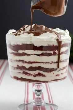 Red Velvet Trifle:  We can't decide what's the best part—the sweet layers of red velvet or the rich drizzle of chocolate on top.