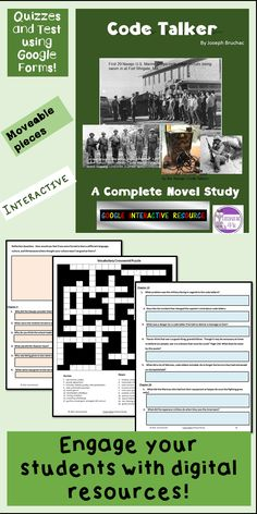 This is a Google Resource for Code Talker by Joseph Bruchac. There are student questions, vocabulary activities, and Language Arts skills activities. I have made the quizzes and comprehension test available in Google Forms. Student activities are separate from quizzes, test, and answer keys.