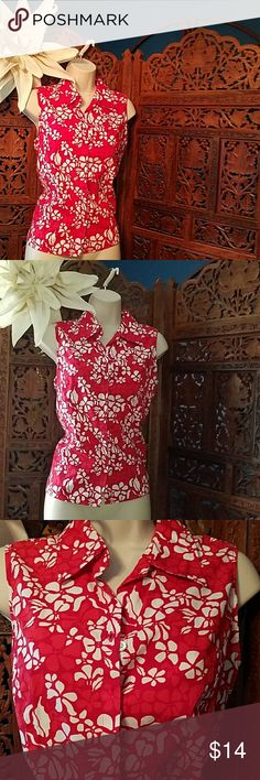 NWOT Mountain Lake red sleeveless summer shirt New without tags Mountain Lake sleeveless shirt Size medium Hideaway button up Red and white flower design Measures 22 in Long 20 in lying flat unstretched Mountain Lake Tops Button Down Shirts