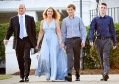 Bar & Bat Mitzvah Fashion for the Family. Dress for the Mom, Suits for the Dad in various shades of blue. Bat Mitzvah Dresses, Bridesmaid Dresses, Wedding Dresses, Bar Mitzvah, Shades Of Blue, Harem Pants, Suits, Mom, Celebrities