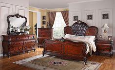 Queen Size Medium Brown Cherry Bedroom Set With Leather Headboard Bedroom Sets, Master Bedroom, Dallas Furniture Stores, Cherry Wood Bedroom, Leather Headboard, Queen Size, Medium Brown, Home Decor, Master Suite