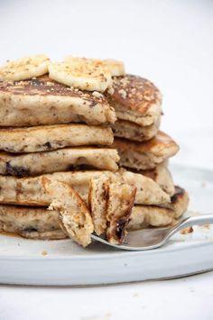 Vegan Banana Bread Pancakes with Chocolate Chunks |ElephantasticVegan.com