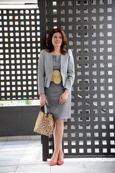 #Working #Outfit con vestido de Zara, chaqueta de H&M, cinturón ChuchusetMoi, zapatos de Mango y Bolso de DayaDay