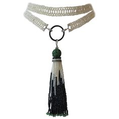 Downton Abbey Onyx Pearl Tassel Sautoir | See more rare vintage Beaded Necklaces at http://www.1stdibs.com/jewelry/necklaces/beaded-necklaces