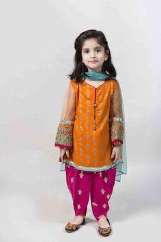 Orange kameez with tulip shalwar and sky blue dupatta latest kids eid dresses for little girls in Pakistan 2017