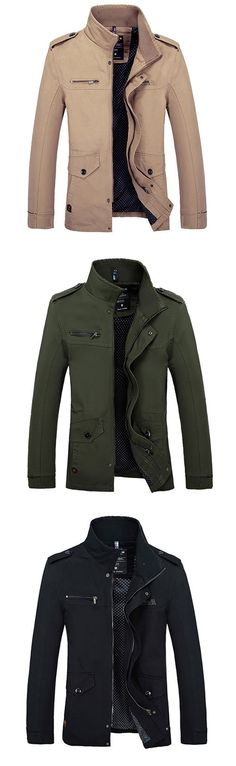 Men's Daily Going out Simple Casual Winter Fall Jackets #Men'sFashionStyles