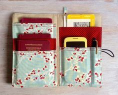 Bag Organisers – Equipment for Stylish Travelers - travel accessories, passport holder, multiple pockets orginizer, wallet, blue with red floral print – a unique product by Sew-Organized via en.dawanda.com