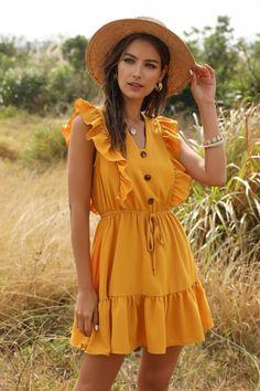 Summer Sexy Women Mini Dress Ruffle 2021 Office Shoulder Tunic | Etsy Yellow Dress Summer, Short Summer Dresses, Summer Dress Outfits, Summer Dresses For Women, Mini Vestidos, Boho Dress, Ruffle Dress, Ruffle Trim, Look Fashion