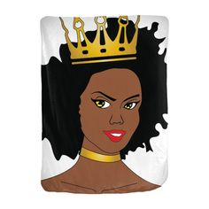 "Natural Hair Diva w/Crown Velveteen Blanket. Who doesn't like snuggling under a soft, warm blanket? Now imagine that blanket with your favorite Chocolate Ancestor design all over it, and snuggling time just got better. Choose from four sizes and velveteen materials to create a blanket perfect for you.  Details  Size 30x40"", 50x60"", 60x80"", 90x90""    Material Velveteen    Edge Finished edge    Print sides Single or double    Production time 3-4 days    Est. Domestic Arrival 7 Days    Est...."