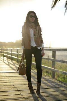 leather blazer, leopard booties #style