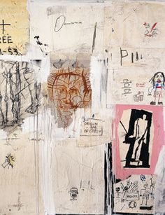 Jean Michel Basquiat - Big shoes, (1983). Mixed media and collage on canvas. 214 x 214 cm